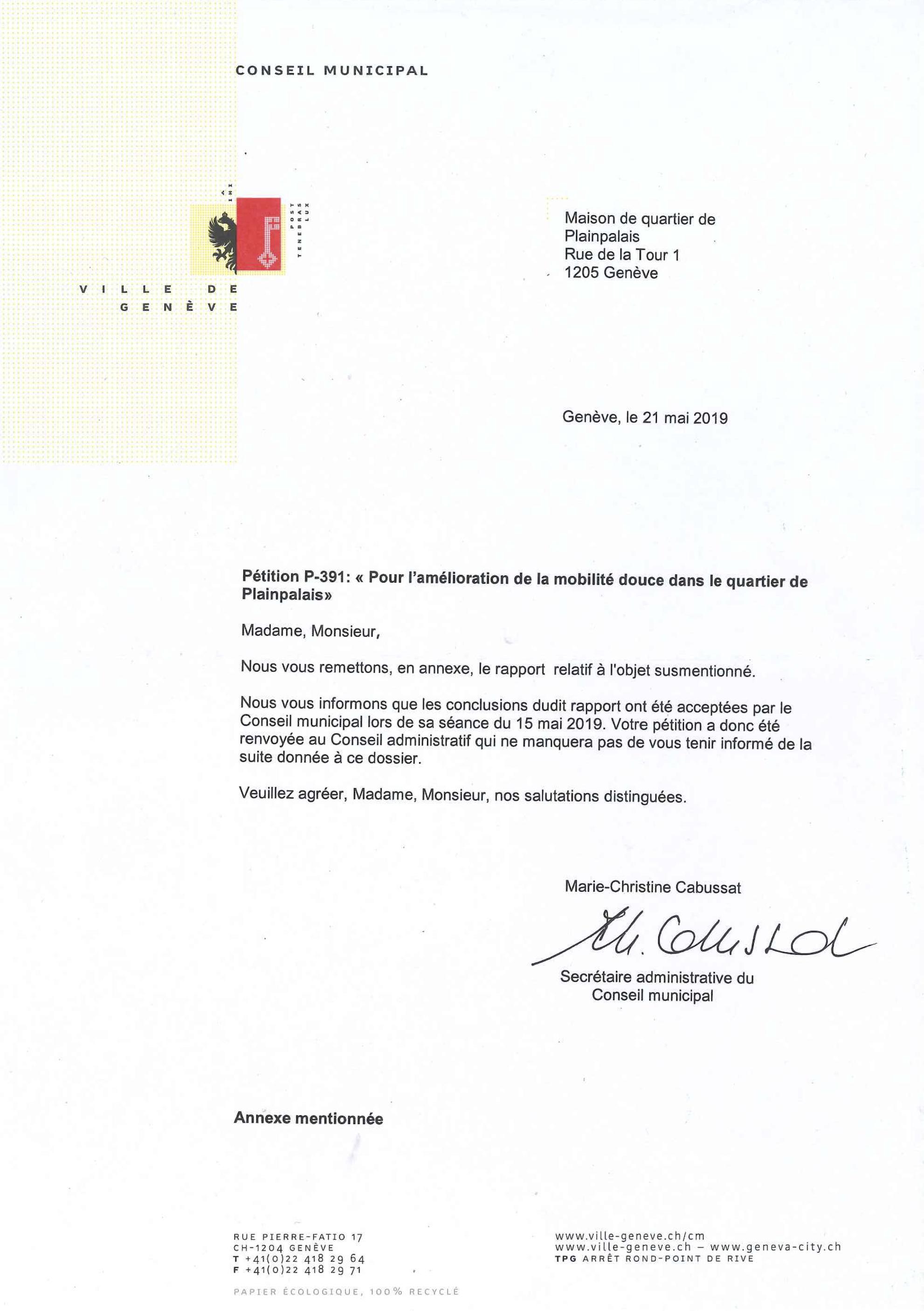 Ville de Genève Réponse du Conseil municipal_Pétition-P-391