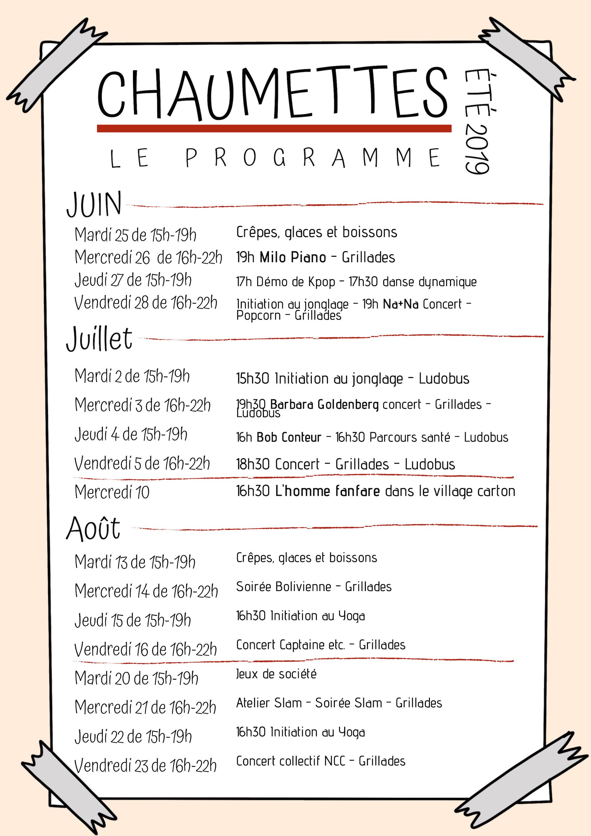Programme CHAUMETTES 2019